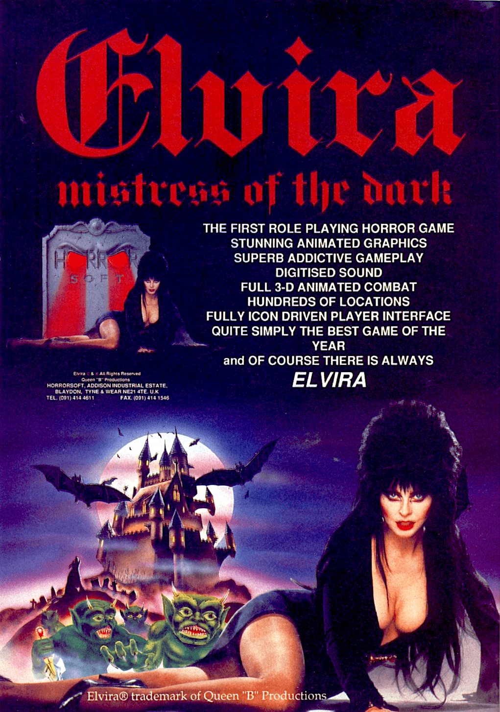 Image For Post   Elvira: Mistress of the Dark is an adventure game. The game uses a first-person perspective in which the hero wanders around solving puzzles, and combating with undead creatures that have overrun Elvira's Castle.  This game features dozens of different death sequences. If the cook in the kitchen kills you, for example, you can see your head floating in her cauldron. The game also has a real-time combat system. You have to time your attacks and blocks in order to defeat the enemy.
