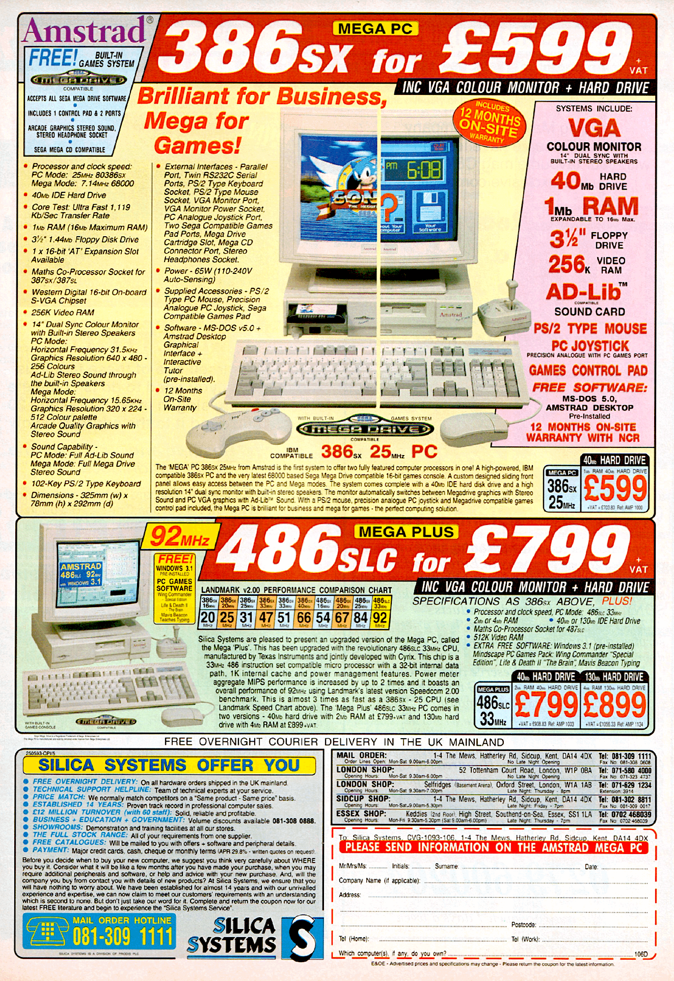 The Mega PC is a computer manufactured and released by Amstrad in 1993 under licence from Sega. It was similar but unrelated to the Sega TeraDrive. It is a standard Amstrad PC with Sega Mega Drive hardware bundled inside, the system was wired to share the dual-sync monitor and speakers with the Mega Drive on a separate circuit board.  Initially released in PAL areas such as Europe and Australia in 1993,[2] its success was short-lived due to its high price of £999.99 (later reduced to £599) and a CPU that was outdated by the time of its release. It was slightly easier to acquire an Amstrad Mega PC than the Sega TeraDrive system due to higher manufacturing volumes. Both systems have become collector's items.  **Technical Specifications**   In general, the Mega PC was seen as a better-built device than Sega's TeraDrive, as the unit was more robust and had more efficient air circulation.[3] The Mega PC was IBM-compatible and had a Mega Drive ISA card, a Mega Drive Controller, Keyboard, Mouse, Monitor, Joystick and Internal Speakers. Side view of the unit, showing the ISA card, spare slot and RAM positioning  The machine shipped with 1MB of RAM, provided by 4× 256KB 30-pin SIMM sticks. This was expandable to 16MB by using 4× 4MB memory modules.[4]  Although it boasted a higher specification than the Sega TeraDrive (having more RAM and a faster processor), the specification of the Mega PC's CPU was a generation old. The newer Intel 80486 was on the market and the first Pentium processors were released the same year as the Mega PC. The system was unable to act as a Software Development Kit due to its inability to simultaneously use the PC and the Mega Drive hardware. A cover on the front of the unit prevented the insertion of a Mega Drive game cartridge while using the PC hardware.[5]    **Input/Output**   The machine's rear houses multiple I/O ports. These include two serial ports, a 25-pin parallel port, a VGA port with combined signals for a standard VGA monitor and sou