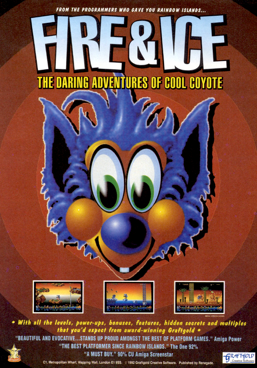 """**Description**   The background story of Fire & Ice is quick to tell: A coyote (you) runs, throwing ice cubes, through various worlds. In the levels you must jump on platforms and kill your enemies. The enemies (for example, birds and penguins) can be shot with your ice cubes; they become frozen, so you smash them. Sometimes they leave part of a key behind after they're destroyed. The complete key, assembled from all the pieces, opens the door to the next world.  In this """"jump & run"""" you can also get some power-ups. You can find some coyote puppies; these puppies follow you, are invulnerable, and also shoot enemies. In higher regions you find some snow-flakes; enough of these and you get a great snowball for freezing more enemies on the screen.  **DOS version**   The PC version contains 16 colours only because it was written using Realms shell which had CGA and VGA 16 colour drivers.  **Master System version**   The Master System version was supposed to be released in Europe in 1994, but the development was aborted. Only later was the game picked up in a somewhat unfinished state for release in Brazil, where the Master System was still a successful console.   **Genesis version**   An enhanced Sega Megadrive version was almost completed, but never released.  **Shareware version**   In 1995, the DOS version of the game was re-released as shareware by StreetWise Interactive. The shareware version was freely available and contained the first world. The remaining four worlds were only available in the registered version.   This re-released version also gained some additional features absent in the original Graftgold/Renegade release: the ability to load/save game progress, user-definable keys, a jukebox for listening to the in-game music, an in-game manual, just to name a few. The actual game remained unchanged, however.  **Xmas edition**   There is a Xmas special edition with winter levels.   **Alternate Titles**       """"Fire & Ice: The Daring Adventures of Cool Coyote"""""""