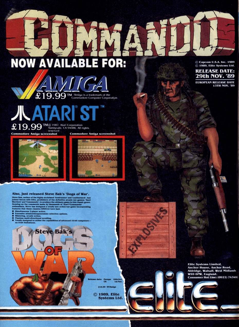 """Image For Post   **Description**   Several levels await your super-tough Commando in this vertical scrolling game. Armed with only a standard rifle and a few grenades you must take on hordes of Nazis. Some are wandering around in the open, while others have picked out hiding places, which you must approach from certain angles. Trees, rivers and bridges create a varied combat-like terrain and must be incorporated into your thinking. Extra grenades can be collected, and will definitely be required, as they allow you to kill from distance and thus avoid some enemy shots.  **Alternate Titles**       """"戦場の狼"""" -- Japanese spelling     """"Wolf of the Battlefield: Commando"""" -- Wii Virtual Console title     """"Space Invasion"""" -- German title     """"Senjō no Ōkami"""" -- Japanese title"""