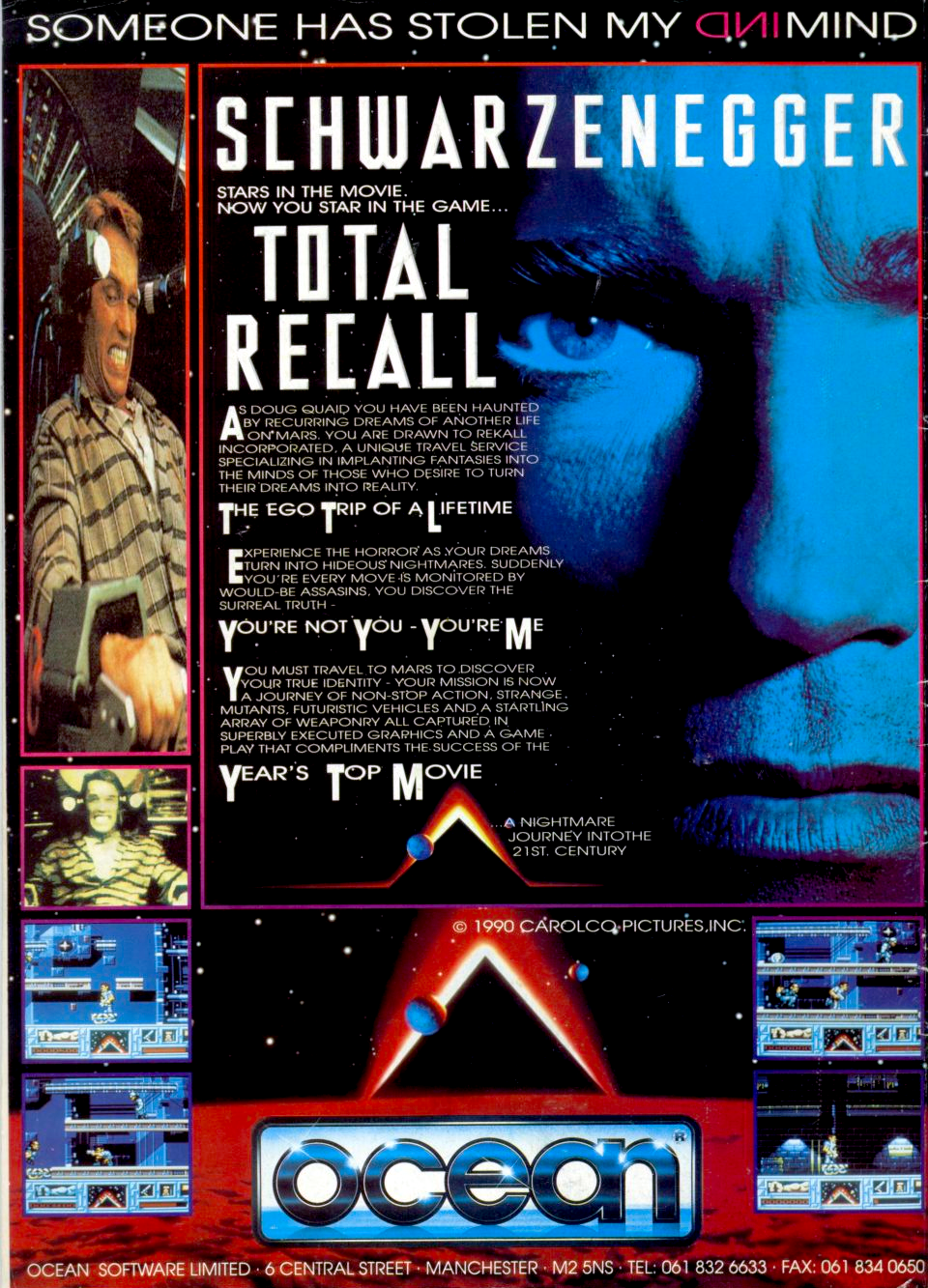 Based on the movie of the same name, Total Recall puts you in charge of Douglas Quaid, who must find a way to Mars in order to find the answers to his two questions: why is he being hunted, and who is hunting him. In order to do this, Quaid must go through level after level of beating up bad guys that get in his way.  Some of the levels differ in gameplay, and range between action and driving scenes. The action scenes mainly require you to collect some items before leaving the level. You have only one chance to complete the current level, which means that if your energy is lost, the game ends. Energy is lost if you are attacked by an obstacle, or if you are shot at by an enemy. You can gain more energy by either collecting some pills or a heart, depending on the platform.