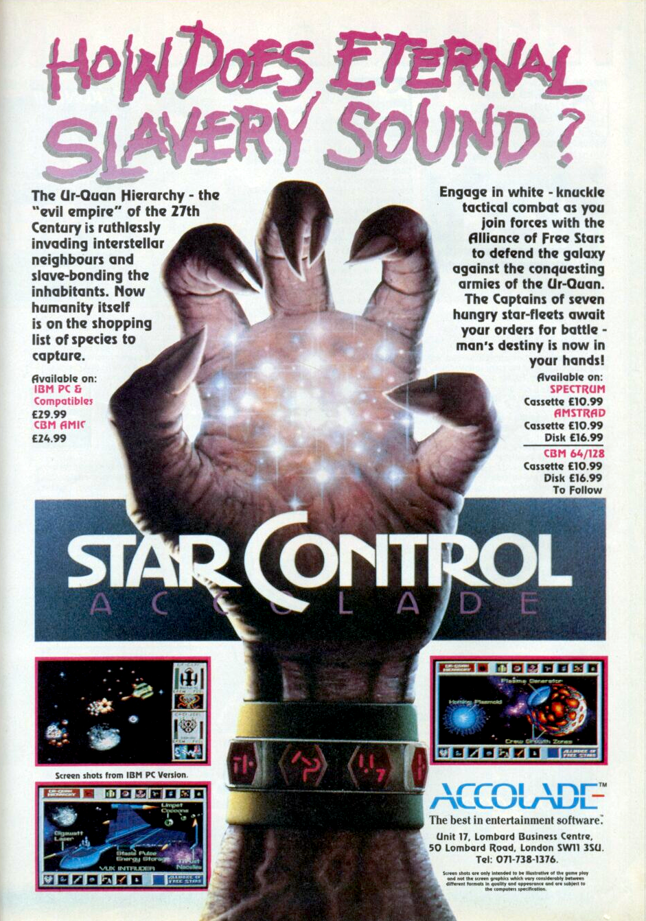 """Description Star Control is a science-fiction wargame which pits the forces of the Alliance of Free Stars against those of the predatory Ur-Quan Hierarchy. The games are designed so that you can ease into play, familiarizing yourself with menus, options and player controls. The Alliance and Hierarchy each possess different types of warships. Each vessel has its own maneuvering and firing characteristics, plus a unique special power that you can employ when circumstances dictate.  The game has two modules: the Melee, in which you can simply blast the computer or another player to smithereens using one of 16 different ships, in either Hierarchy or Alliance fleets; or, should you wish for a more challenging game, lets you play one of 9 preset scenarios.   Trivia   Inspiration The """"special thanks"""" in the manual list off an equally large number of sci-fi authors whose work in some way influenced the game. It's fairly rare for game designers to be so rigorous in documenting their inspirations.   References The vast majority of captain names in the game were taken from various famous and semi-famous sci-fi sources. (far too many to list here. For example, there's a Syreen Captain Alia (from Dune) and an Earth Captain Pike (from Star Trek))   Title From almost the very beginning of his video game design career, Paul Reiche III has revisited the theme of pitting varied teams of carefully balanced but widely varied opponents against each other, first in 1983's Archon and most recently in 1998's The Unholy War (and its Japanese analogue, Little Witching Mischiefs).  Star Control also falls in the middle of this chain, and its heritage is plainly spelled out phonetically in its abbreviation:      __Archon     Star_Con   [Genesis/Megadrive version]   Rampant slowdown marred much of the core gameplay on the Genesis, much to the chagrin of the creators, who were not given the time by Accolade to optimize the gameplay for the platform.[2][3] This led to a lawsuit between Accolade a"""