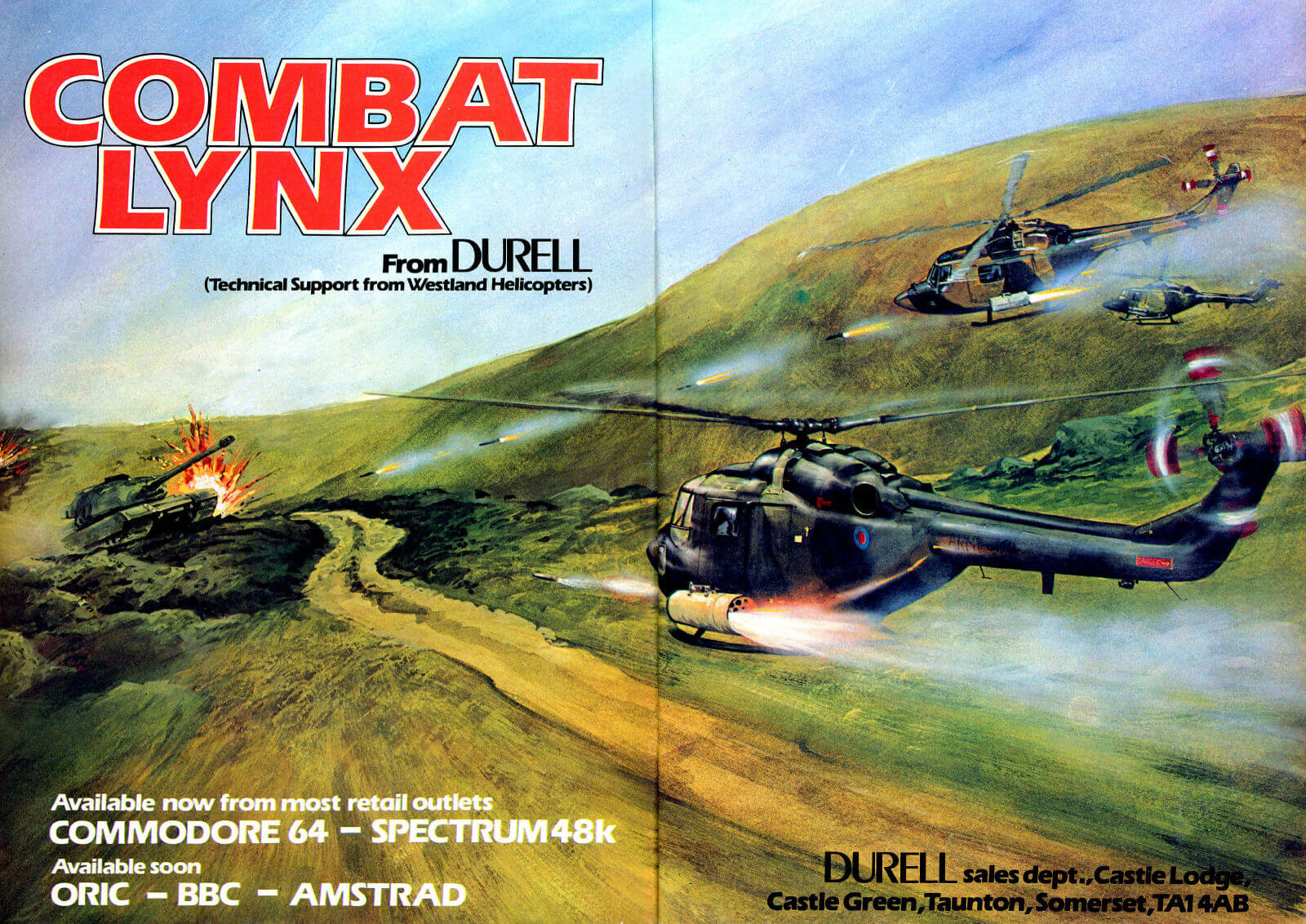 **Description**   A semi-realistic helicopter battle game, viewed from behind. Allied bases must be protected from air and land attacks, and soldiers transported between them.   The Combat Lynx is equipped with various weapons, including mines and heat-seeking missiles. A map enables the player to keep track of enemy forces. Includes various difficulty levels.  **Development**   During the game's development, Durell sent its programmers to try out flying a real Westland helicopter, in the hope of improving the game's realism.