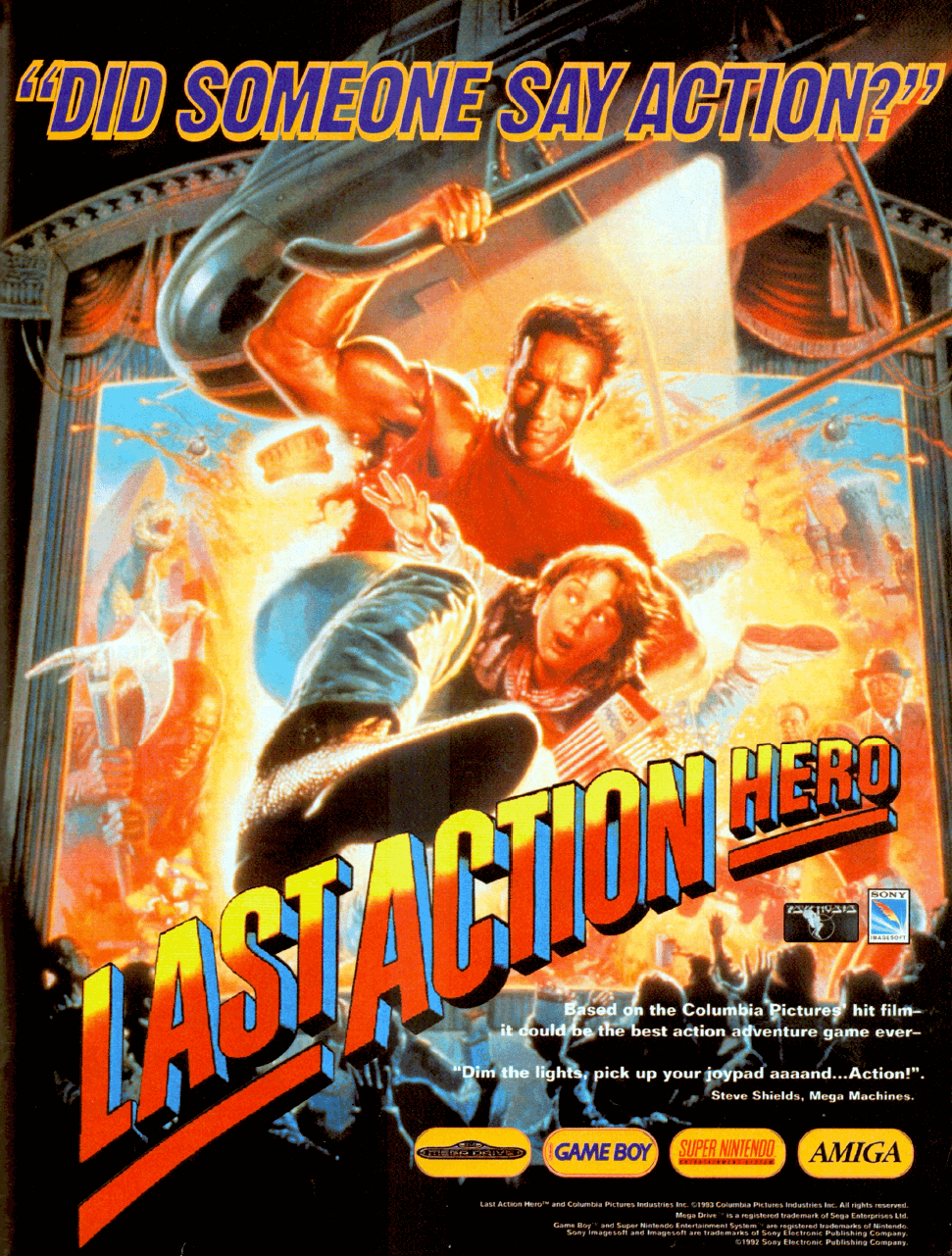 """Image For Post   **Description**   The 16-bit console version of the movie license Last Action Hero combines side-scrolling beat'em up levels with driving sequences.  Players control action hero Jack Slater through four beat'em up levels. The first two are inspired by the beginning sequence of the movie (the finale of """"Jack Slater III""""), the third by the hotel funeral inside the movie world, and the last by the premiere of """"Jack Slater IV"""" in the real world. Slater must move to the level exit before the timer or his energy runs out. Various goons stand in his way and must be defeated through kicks or punches.   There are four varieties of enemies in the game, wielding either knives, baseball bats, Molotov cocktails or guns. Spent life energy can be refilled by collecting movie tickets that sometimes fall from the sky. The Genesis version adds an additional twist in the first level: a crosshair will follow Slater around and randomly shoot bullets at him. All except the first stage end with a boss fight. Bosses include The Ripper, a helicopter and main villain Benedict.  The driving sequences are also seen from the side. Slater's car must avoid hitting cars and trucks parked on the road while trying to destroy enemy cars by jumping over a ramp and then landing on top of them.  Cutscenes tell the story of the film between levels, following the original plot only loosely."""