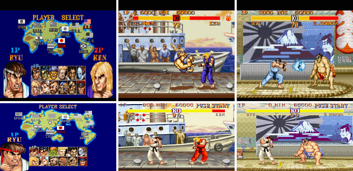 """Image For Post   snes arcade   **Development**   Street Fighter II Turbo was a response to unauthorized arcade hacks, especially the Rainbow Edition, which was a tweaked Street Fighter II version with changes such as increased game speed and mid-air moves. Capcom saw this as a big threat, so they tried to stop the production but it was wide spread, so they decided to take the game, fix it up, and finally released it, so that people would stop buying from the pirates, with the final project named Street Fighter II Turbo.   **Super NES**   A port was released for the Super Famicom on July 11, 1993 in Japan, and for the Super Nintendo Entertainment System in August 1993 in North America and October 1993 in the PAL region.[4] The port was developed using the SNES port of the original Street Fighter II as its base, but with a larger cartridge size of 20 Megabits. Despite being titled Turbo, this port also contains the Champion Edition version of the game in the form of a """"Normal"""" mode. The game's playing speed is adjustable in Turbo mode by up to four settings by default, with a cheat code that allows up to six faster settings. Other cheat codes allow players to enable and disable special moves in Versus mode, as well as play through the single-player mode with all of the special moves disabled.  The pitch change in the characters' voices when they perform a variation of their special moves based on the strength level of the attack was removed, but the voice clips of the announcer saying the names of each country were restored, along with the barrel-breaking bonus stage that was removed in the first SNES port. The graphics of each character's ending were changed to make them more accurate to the arcade version. Sound effects featuring people or animals shouting after a round ended were added as well, an aesthetic element that was not present in the arcade version of Hyper Fighting, but rather was added in Super Street Fighter II."""