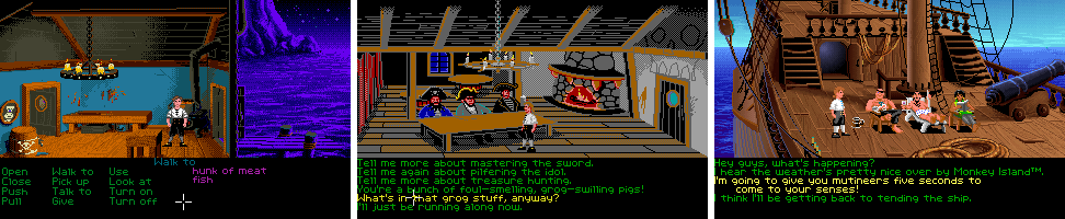 """Image For Post   Amiga - Atari ST - PC  **Inspiration**   Though he's long been on the record regarding Monkey Island's inspiration from the Pirates of the Caribbean theme park ride (the ride, having earned its own movies, effectively nullifying any chance of a Monkey Island movie once in development), Ron Gilbert has come clean regarding another primary source of inspiration, a recently-back-in-print book by Tim Power entitled On Stranger Tides, ensuring a heavy injection of voodoo into the Monkey Island mythos.  **CD versions**   The CD version of the game features CD music, a furnished interface with graphical inventory items and new sound effects not seen in the disk version. If you try to load the game with """"e"""" parameter, you won't see the inventory because it is 256 colors only.   The CD DOS and FM Towns versions of the game have slightly updated interface (with graphically represented inventory items instead of the text-only labels in the original version), as well as CD audio music tracks.   **Concept notices**   One of the first scribbles for Monkey Island that were used for the different story-branches hang in the bathroom of George 'The Fat Man' Sanger's studio in Austin/Texas.    **Cut content**    - Originally, there used to be a ship combat sequence in Monkey Island. While this scene didn't make it into the final cut, the idea was re-used in Monkey Island 3. - At one point, the developers actually deleted a whole bunch of the games because it didn't flow well with the story. - Ron Gilbert was going to make the part where you get Meathook to join your crew longer, but the idea was axed.   **Copy protection**   The original version came with a code-wheel copy protection, in which you had to mix and match several pirate's faces and assemble their names.   **Demo version**   The demo version features story, dialogues and puzzles not present in the main game. More information can be found in its game entry.  **Distribution**   According to a G4 interview wi"""