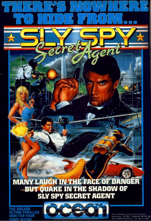 """**Description**   With a clear James Bond influence, Sly Spy must stop terrorists destroying parts of the city in this collection of sub-games. Roughly half of these (starting with level 2, and alternating from there on) are side-scrolling Green Beret-influenced offerings, not entirely dissimilar to a great many Ocean movie licenses. There are bad guys to shoot and bullets to avoid, with boxes to climb up on and strategic positions to shoot from behind cover.  The first level involves skydiving down the screen and shooting at the agents as they themselves fall - complete this and you'll safely parachute to the ground. There's a motorbike chase, in which you must shoot out and dodge agents. Two underwater levels follow, in which more enemies and some sharks must be shot. Before reaching the final multiple-enemy showdown in a missile factory full of the baddies from the game.    **Ports and related releases**  The game was ported to several home systems for personal use. Ocean Software ported it to the Amiga (with completely different background music composed by Tim Follin), Amstrad CPC, Commodore 64, Atari ST and ZX Spectrum in 1990 exclusively in Europe, whilst Data East would release Ocean's Commodore 64 version in North America in 1990.   After Data East became defunct due to their bankruptcy back in 2003, G-Mode bought the intellectual rights to the arcade game as well as most other Data East games and licenses globally.  In 2010, G-Mode and G1M2 added the arcade game to Data East Arcade Classics as """"Secret Agent"""".   In 2018 it was released on Nintendo Switch. It was titled Johnny's Turbo Arcade: Sly Spy.  **References**   Several references from Data East's other arcade games made cameo appearances in Sly Spy. A poster showing Chelnov (a.k.a. Atomic Runner) can be seen at the beginning of Stage 3, the logo for the aforementioned Bad Dudes can be seen at the end of Stage 3, and a poster showing Karnov can be seen at the beginning of Stage 5.   In the 1990 movie """
