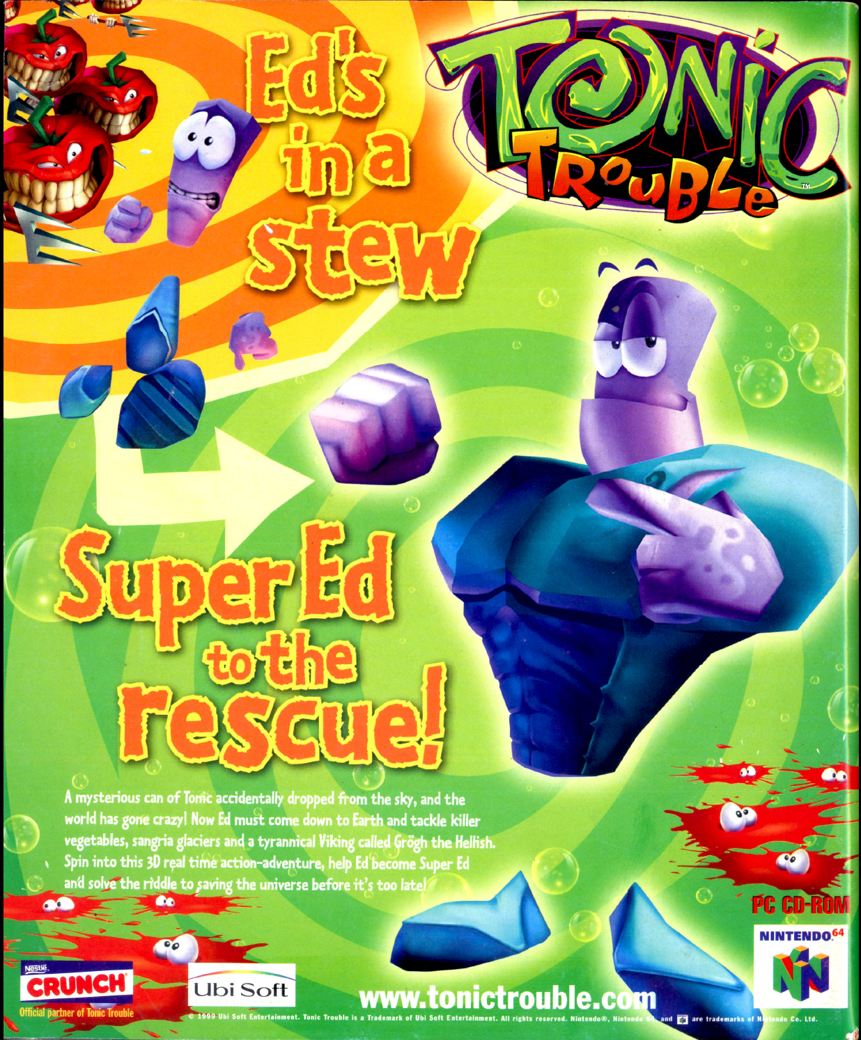 """Image For Post   **Description**   In the tradition of Rayman (a platform jumper) comes another whacky adventure from Ubisoft!  Ed, the friendly alien space janitor, accidentally dropped a can of """"tonic"""" on Earth, causing a great ecological disaster. Everything started mutating! Ed is ordered to clean up the place and retrieve the tonic, but someone got hold of it first... And he declared himself Master of Earth! Can Ed survive attack of the killer vegetables, find the six items he needs to fix Earth, and retrieve the Tonic can from Grogh the Hellish, and finally get out from Tonic Trouble?  **Development**   Tonic Trouble was conceived and initially designed by Michel Ancel, who had created Rayman in 1995. Ancel was largely inspired by the storyline of Day of the Tentacle and the world-travelling mechanic from The Legend of Zelda: A Link to the Past. Starting pre-production in June 1996, Tonic Trouble was the first project to be developed by the previously established Ubi Soft Montreal, which devoted a team of sixty programmers, thirty animators, twelve level designers, twelve 3D artists, and four audio department employees.  The game engine, known as """"Architecture Commune Programmation"""", was built by fifty in-house staff over a course of eighteen months, with a total cost of US$4 million. Using the engine, the developers wanted to take full advantage of Intel's newest Pentium II generation of central processing units. Tonic Trouble was one of the first games to be distributed on DVD-ROM,[16] a rarity at the time. The additional storage of DVDs allowed Ubi Soft to include a longer introduction and more music tracks.  Designer Pierre Olivier Clement stated that the design team aimed at making the player rationalize every step they took, contrary to what was done in games like Duke Nukem and Quake. Furthermore, they opted to differentiate the game from its sister project, Rayman 2: The Great Escape, by focusing more strongly on adventure, whereas Rayman 2 relied on a"""