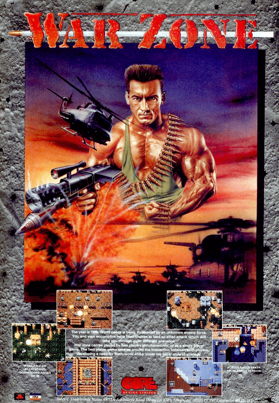 """**Description**   As the name implies, War Zone is a game mainly about shooting, shooting, some hostages rescuing (or shooting if you want) and also shooting.  The game consist of 8 top-down scrolling missions in which you're controlling Arnold-like soldier armed with basic machine gun. Each mission is taking place in different location with little repetitive signs further in the game. Starting point is at the jungle, but you will also visit some kind of stores, sewers and factories. Your task is to get at the end of mission and destroy main boss. Throughout your way a lot of enemies is waiting for you. Expect heavy resistance by infantry armed with machine guns, guided missiles and grenades. Of course, enemies are using plenty of vehicles so prepare for trains, tanks, helicopters, jeeps and even one submarine. Luckily you aren't reliant to machine gun only. Shoot boxes with """"W"""" sign and arm yourself with better/stronger weapons like grenades thrower, flamer, guided missiles launcher or laser. Also watch carefully for hostages. If you release one, you'll be awarded with points or health-pack."""