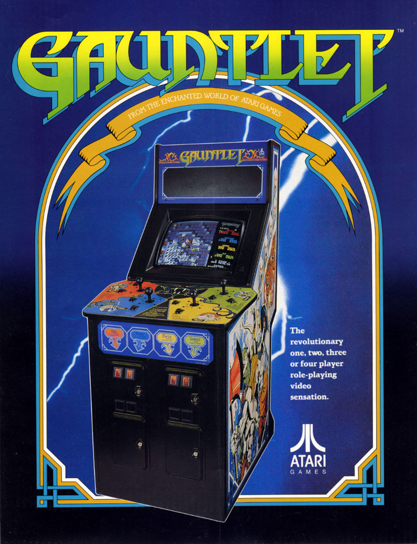Image For Post | Gauntlet is a fantasy-themed hack and slash 1985 arcade game by Atari Games.  Released in October 1985, Atari ultimately sold a total of 7,848 Gauntlet video game arcade cabinets. It is noted as being one of the first multi-player dungeon crawl arcade games.