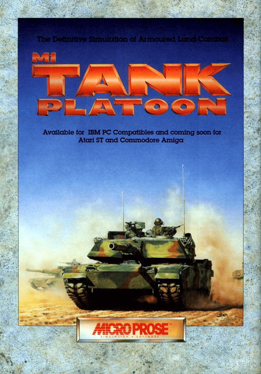 """**Description**   A very encompassing game that allowed players to issue orders to Tanks, AA units, Aircraft, Artillery and Infantry in a campaign against Warsaw Pact units in Europe, while specifically controlling a platoon of 4 M1 tanks. The player could jump into the position of the driver, gunner or commander of any of the tanks to view the world from a 1st person perspective, or work from a tactical map to command all his forces. Characters in the M1 platoon actually increased in skill as they survived battles.  **Graphics**   Around Desert Storm, MicroProse released a """"bundle"""" called """"Allied Forces, which contains Gunship and M1 Tank Platoon, but with a patch to make the terrain yellow/brown like Kuwait instead of the """"green"""" of Europe.  **Troops**   You don't just control your own platoon of 4 tanks. Sometimes additional forces will be assigned to you, anything from infantry (Bradley IFVs and M-113 APCs) and missile carriers (ITV-improved TOW vehicle) to A-10 or helicopter support. Sometimes you may even see some M-60 tanks assigned to you! Artillery is also available on call depending on what's available (HE, smoke, etc.).  **Sequel**   It was followed by a sequel, M1 Tank Platoon II, released by MicroProse in 1998 for Windows. M1 Tank Platoon was sold to Interplay Entertainment in 2009.[1]  **Alternate Titles**       """"M-1 Tank Platoon"""" -- Alternate spelling"""