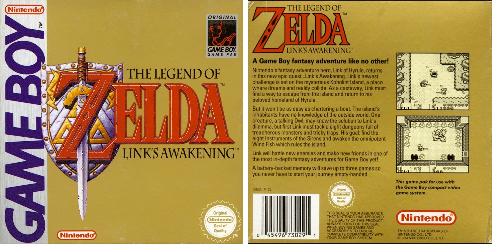 """Image For Post   The fourth game in the Zelda series although it does not take place in Hyrule. After being attacked at sea, Link's ship sinks, and he finds himself stranded on Koholint Island. He awakens to see a beautiful woman looking down at him. He soon learns the island has a giant egg on top of a mountain that the Wind Fish inhabits deep inside. Link is told to """"awaken the wind fish and all will be answered,"""" so Link sets out on another quest."""
