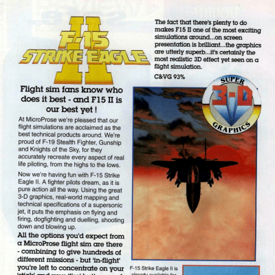 F-15 Strike Eagle 2 - Video Game From The Early 90's