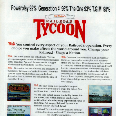 Image For Post Sid Meier's Railroad Tycoon - Video Game From The Early 90's