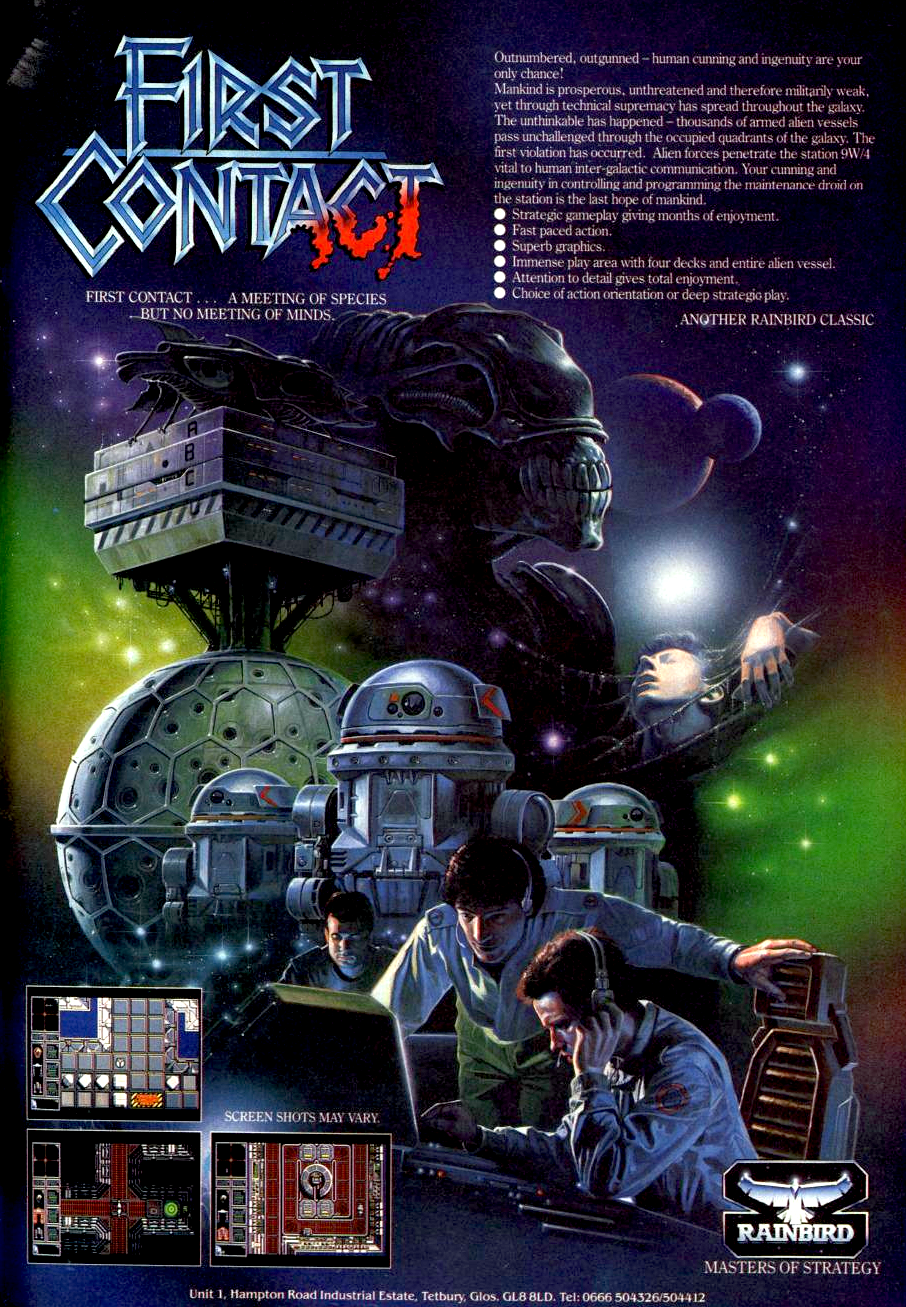 Image For Post | In First Contact, a communication space station is overrun by aliens. The player takes control over the maintenance droid with the goal to keep the station running as long as possible. The aliens will destroy vital part of the station and the droids need to repair them. There are also other important tasks like getting repairing equipment out of lockers or refueling.  The player does not control the droid directly, but programs a script which is then performed independently. If the droid is interrupted, they stop the program and don't fight back. It has to be manually restarted by the player.   To be more effective, the droid can be split into three droids with different abilities which have to be programmed individually. The game ends when all droids are disabled by the aliens, but if only one or two are down they can be repaired. There are four decks which can be reached through teleports.