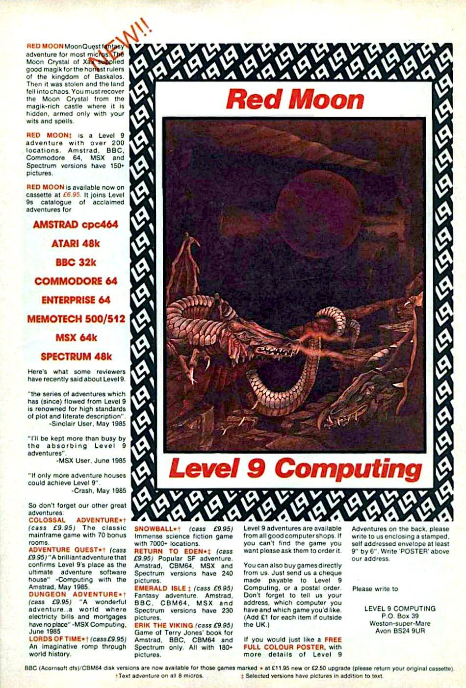 **Description**   The Red Moon Crystal is the only source of Magik in the land, and stabilizes the forces of the world. This crystal has been stolen and as a result, the land has fallen into chaos. A single powerful magician is sent to rescue the Crystal from the castle where it's hidden.  Red Moon is an graphical interactive fiction game. Players assume the role of the wizard on his quest to recover the crystal. They will have the use of many weapons and a dozen magical spells. Combat is a key element of the game: both the magician and enemy opponents have hit points, in the style of RPGs. Spellcasting requires certain objects to be col