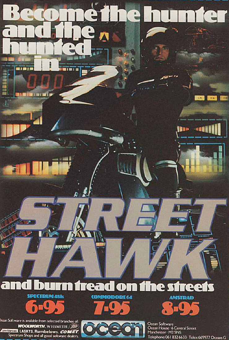 After an intensive 18-month research program, Jesse Mach's super bike is finally ready to hit the mean streets.  Jesse has vowed to avenge the death of his best friend, and goes on a mission to take down the villains whether they may be. But Jesse need not look no further than the street. The baddies are driving XR3's, so all it would take is one laser blast in the XR3 fuel tank, and the cars are immobilized.  Zooming along, the player has to serve through traffic, dodging the bullets fired by the bad guys and eliminating carloads of criminals while taking care not to kill innocent citizens. As well as the built-in lasers, Jesse's bike can leap into the air, and a well-timed spring can avoid a collision. A crash or a blast from a villain's gun is not fatal, as the bike can take a fair bit of damage before it is immobilized. Reckless driving is not tolerated, and if too many civilians are killed, the police will be in pursuit. If the police catches up with the bike, the game ends. However, the turbo facility can be used to make a quick getaway.  After driving along, the player needs to keep an eye on the gauges that indicate the condition of the lasers, the damage inflicted on the bike, and the engine temperature. Points are awarded for each of the villain's car blown up and for each civilian overtaken. While driving, Jesse receives a message regarding a break-in at the liquor store. It is up to him to take it slowly so that he can arrive there safely.  At the liquor store, you must destroy three villains who run out of the store and attempt to escape in their getaway van. All of the villains must be shot before the second mission can begin. This mission involves another chase sequence, only this time a high bonus is awarded for killing off a major underworld figure who is driving a black sedan. Once the sedan gets destroyed, Jesse and his bike can return to base for a refit so the major confrontation with the leader can begin. To complete the game, the leader must b