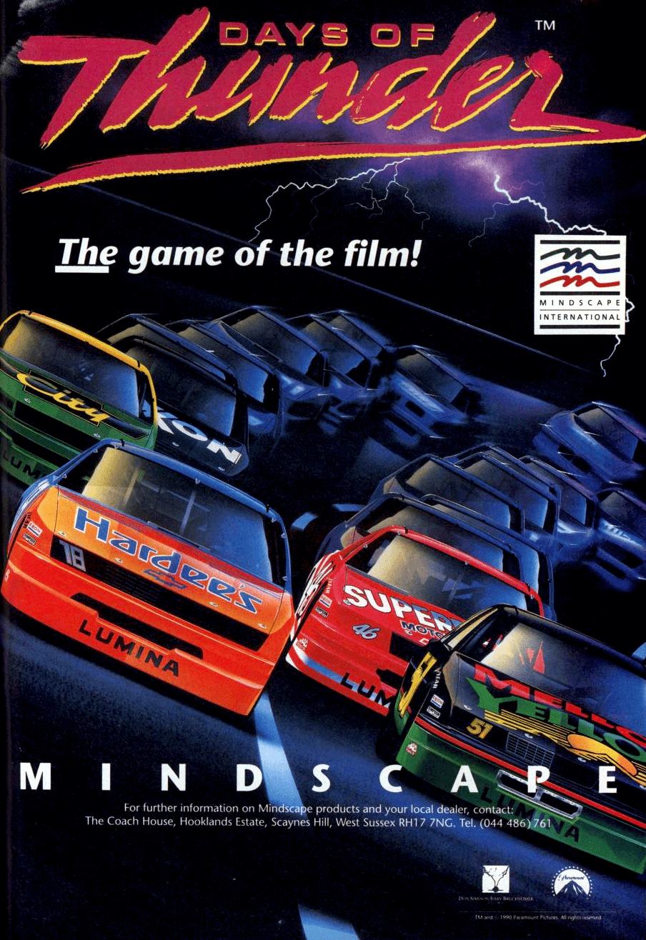 """**Description**   Tom Cruise's film brought NASCAR racing to the masses, and Mindscape did the same for games players with this license.  You play Cruise's Cole Trickle character (his name, like many of the others, is slightly different to that of a real NASCAR racer of the day) against your rivals on 8 tracks, based on real-life counterparts. The races are all on ovals, although the exact lengths, corner types and gradients are varied.  From time to time you'll have to pull into the pit stop area. When doing so, you control the five members of the pit crew. [Taking] time on pit will make you lose positions at the race. The other racers, however, never pit.  The NES version has an external view only.  **PC**   In the PC version, gameplay consisted of setting up the car, qualifying, and then the actual race event. If the player finished in a high enough position, they would progress to the next circuit. Damage was calculated not by realistic damage displayed on the car but a """"cracked dashboard"""" bar indicator, with cracks appearing along the dashboard when the player hits something.   If the Adlib or Roland detection isn't working, simply copy the ADLIB.BIN or ROLAND.BIN file over the PCSND.BIN file to force sound for your card.  **Knowledge Dynamics Corp**   The string """"Copyright(C) 1989 Knowledge Dynamics Corp."""" appears in the program executable, but it's unknown what role this company played in the creation of this game.   **Updated game**   In 2009 Freeverse released an updated version for the iOS."""