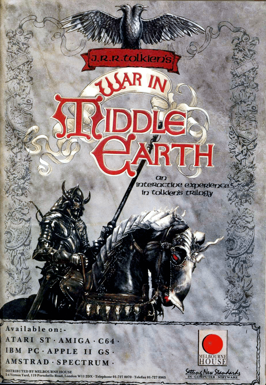 Image For Post   **Description**    *8-bit versions*  War in Middle Earth on 8-bit machines is a simpler version of the 16-bit game. It doesn't feature the questing and RPG aspects of the other title and is instead a pure strategy game.  The player controls the forces of good in the War of the Ring from J.R.R. Tolkien's The Lord of the Rings. The game begins with the Fellowship of the Ring just having formed in Rivendell and the hobbit Frodo Baggins carrying the One Ring. The ultimate goal of the game is to get the ring bearer to the cracks of Mount Doom to destroy the ring. The game is lost if the ring bearer is killed or corrupted by the ring's influence or if Sauron's forces capture the city of Minas Tirith.  *16-bit versions*  J.R.R. Tolkien's War in Middle Earth is the 16-bit game with additional adventuring features compared to the 8-bit version, loosely depicting the events of the One Ring from the Shire to Mt. Doom. The game starts with the three hobbits: Frodo, Sam, and Pippin surrounded by nine individual units of Nazgul near the Shire. Although the first task is to travel to Rivendell, the player is free to decide how heroes and armies progress, despite the in-game conventional storyline.  Victory is attained by successfully sending the ring bearer to Mt. Doom - how this accomplished is completely up to the player. Additionally, any hero including Frodo may die during combat.   If the ring bearer dies during combat, a new ring bearer (if they survive the encounter) will be appointed to carry the One Ring. If the enemy gains possession of the One Ring is taken by the enemy, they will attempt to reach Barad-Dur, Sauron's fortress in the heart of Mordor, which will result in the player's defeat. The player will also lose if the enemy manages to seize three major allied citadels.