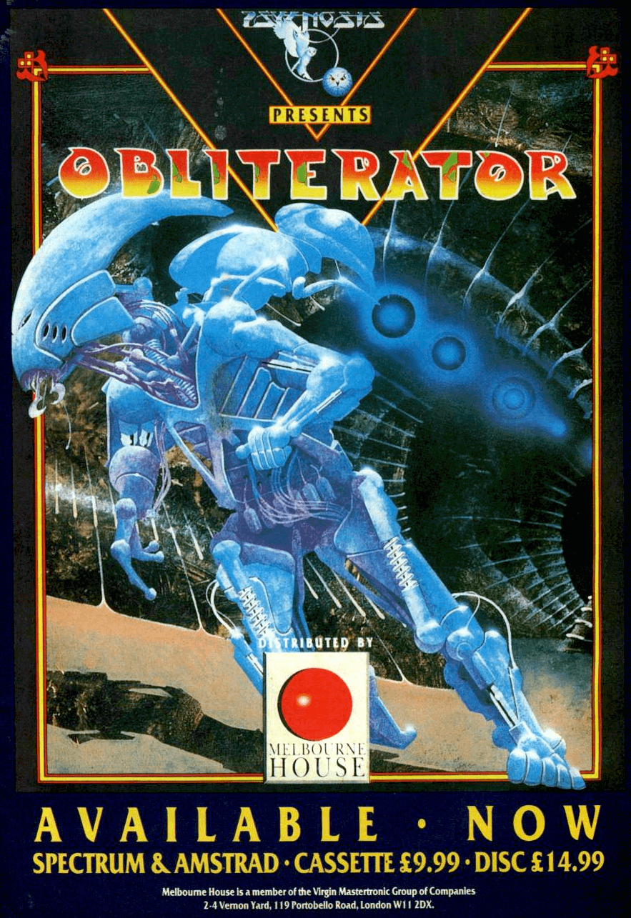 Image For Post | **Description**   You play Drak, the last of the Obliterators (genetically enhanced machines bio engineered for otherwise impossible missions.) Your mission is to save the Federation from an alien spacecraft.  Obliterator is an arcade style platform action game. The game screens are static (instead of scrolling, though you can optionally turn on scrolling transitions between screens.) and can be maze like at times with many locations to search. Armed with a variety of weapons, you have to board the alien spacecraft, disable its weapons, plasma drives and shields, then escape.  **Cancelled C64 version**   A C64 conversion was being developed through Lothlorien, by Chris Caress and Lee Cawley but was not completed before the company collapsed. Currently Lee has not traced any of the game; only the mock-up loading screen is known to still exist.  The version for Apple IIgs was never released despite being advertised